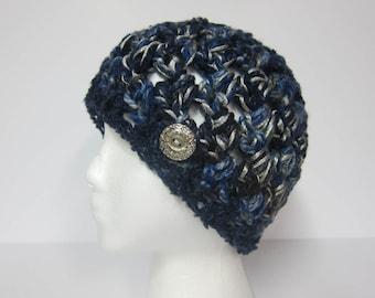 Navy Blue Beanie, Beanie with Button, Crocheted Beanie, Beanie for Women, Womans Beanie, Womans Hat with Button, Navy Blue Hat, Womens Hat