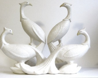 Spatterware Peacock Statues Four White Ceramic Pheasant Figurines Bridal Table Wedding Decor Chinacraft Pottery