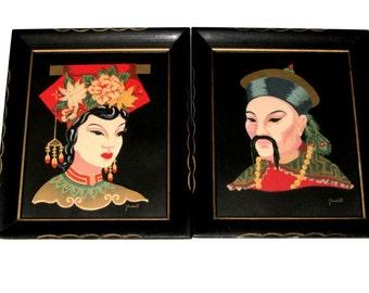 Manchurian Couple Portrait Pair Vibrant Color Screen Prints Traditional Costumes Asian Art Mid Century Serigraphs