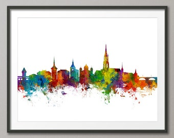 Bern Skyline, Bern Switzerland Cityscape Art Print (2686)