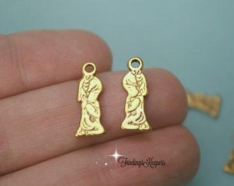 3 Praying  Girl Charms Antique Gold Tone 18 x 7 mm - cg237