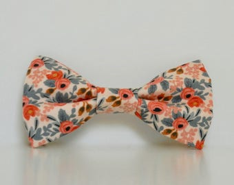 Floral Pink Peach Dog Bow Tie Le Fleur Wedding Accessories Spring Summer Collar Made To Order