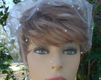 Birdcage Veil, Tulle Mini Veil, Bridal Veil, Wedding Veil, 9 Inch Veil, Scattered Pearl Veil, Bridal Accessory, REX2024SP
