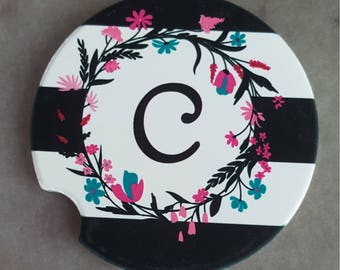 Monogrammed Coasters Car Coasters Cup Holder Coaster Flower Black White Coaster Custom Coaster Initial Personalized Gift