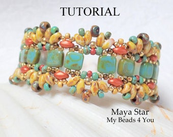 SuperDuo Bead Patterns, Beading Tutorial Pattern, Beading Instruction, Seed Bead Pattern, Bead Schemi, DIY Jewelry, Beadwork, MyBeads4You
