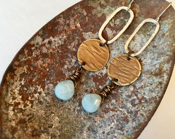 Mixed Metal Earrings, Aquamarine, Textured brass, Hand Hammered, Sterling silver, Hoop earrings, March Birthday, Mixed Meral Jewelry