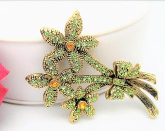 Green Rhinestone Brooch - Citrine Centers -  3 Flower Pin