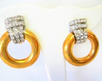 Park Lane Earrings - Vintage Rhinestone Doorknockers -  Signed Park Lane -  Clip On Earrings
