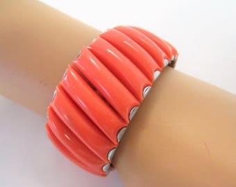 Orange Lucite  Bracelet - Expandable - Stretch to fit - 60's Bracelet