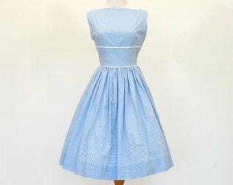 25% OFF SALE 50's/60's Custom Fit and Flare Dress, Retro Blue Gingham Dress, Lady Dress