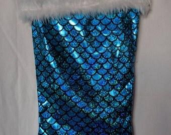 Sparkly Blue Mermaid Tail Christmas Stocking