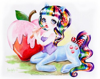 Sweet Tooth Ponygirl LIMITED EDITION print signed numbered Simona Candini Doll lowbrow pop surreal big eyes art centaurette unicorn Pony