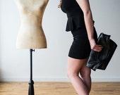 50% OFF SALE Black Crossbody Bag, Stingray Leather Handbag, Fold Over Tote, Embossed Leather