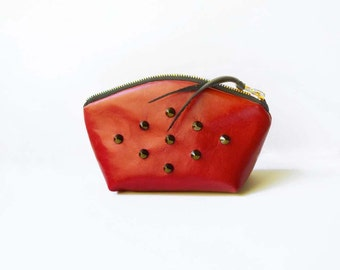 Red Evening Bag Studded Antique Brass Spikes Leather Pouch Cosmetic Bag Indie Fashion Rocker Chic Handmade
