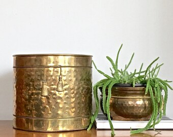 Vintage Brass Planter Rustic Patina Barrel Indoor Outdoor Gold Metal Planter