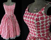 50s 60s Elaine Terry Floral Sundress Cotton Circle Skirt Shirtwaist Novelty Print