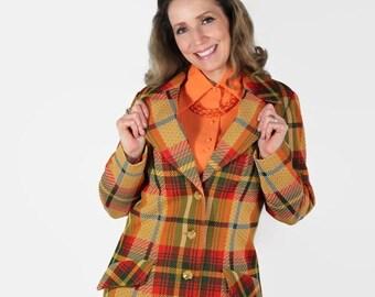 On Sale 70s Plaid Jacket, Orange, Tartan, Mod, Hipster