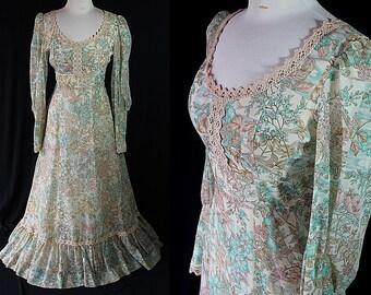 70s Hippie Boho Maxi Dress Cotton Gauze Lace Gunne Sax Style