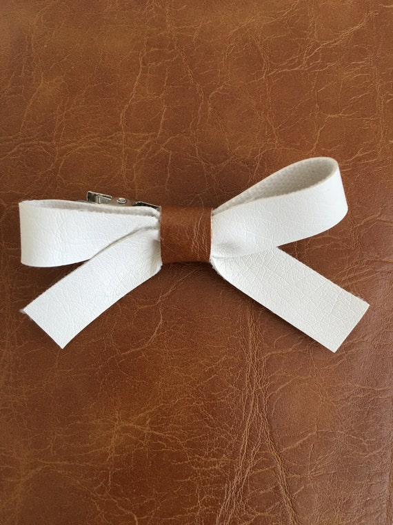 White Bow with Faux Caramel Leather Center