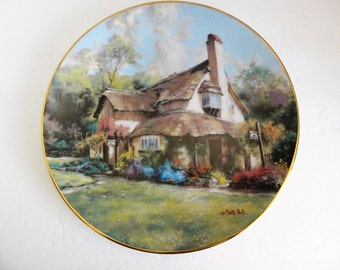 The Periwinkle Tea Rooms 1990 Marty Bell Fine Art English Country Cottages Plate Collection Thatched Roof English Cottage