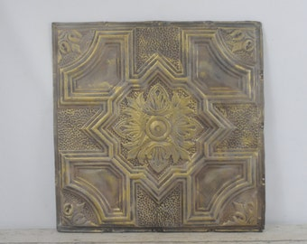 Antique Pressed Tin Ceiling Tile Decorative Metal Ceiling Tile Wall Art Salvage