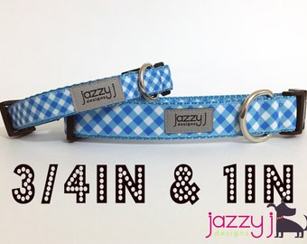 Blue and White Gingham Plaid Dog Collar