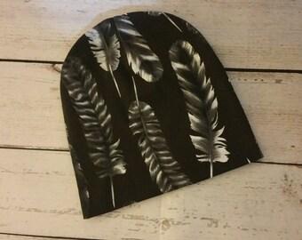 Baby Beanie Unisex Black Feather Pattern