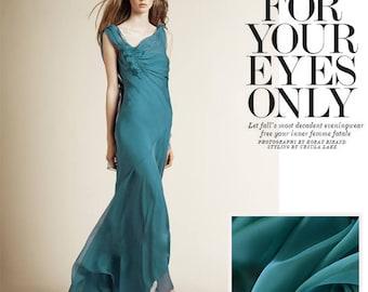 "100% fine silk chiffon fabric, blue green chiffon, 53"" for Spring/Summer Dresses/blouses/skirts/Scarves - 1 yard"