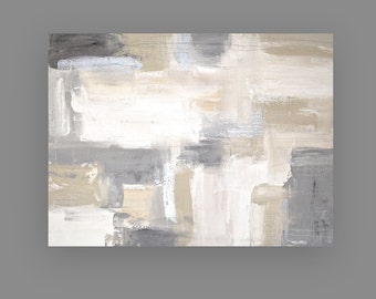 Shabby Chic, Art, Painting on Stretched Canvas, Original Painting Abstract Acrylic Art by Ora Birenbaum Titled: White Sands 10 30x40x1.5""