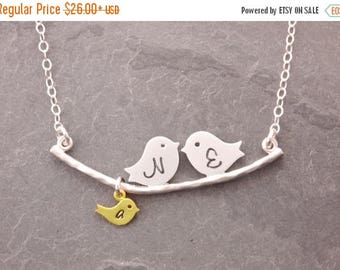 SALE: New Mom Necklace, 1-10 kids, initial necklace, mother necklace, gifts for mom, mom necklace, new parents, bird family, baby shower, N1
