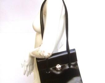 FURLA Sleek Black Leather Shoulder Bag Made in Italy