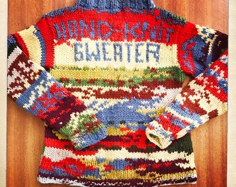 """Unique """"HAND-KNIT SWEATER"""" Vintage Multi Color Camouflage Sweater Jumper - Size Small"""