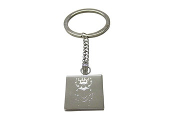 Silver Toned Etched Spiky Beetle Insect Keychain