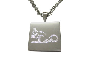 Silver Toned Etched Squirrel Necklace