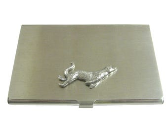 Silver Toned Textured Sea Lion Business Card Holder