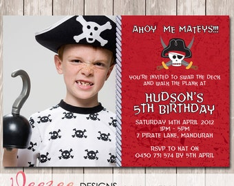 Pirate Themed Photo Personalised Birthday Invitation - YOU PRINT