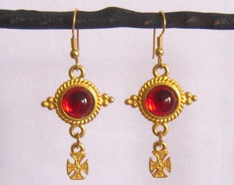 """SALE Matte Gold 2-Tier Cabochon Drop Earrings have Red Cabs in Detailed Setting on Top & Maltese Cross Drops Below.  2-3/16"""" L."""