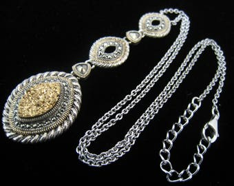 """Sterling Silver Pendant Necklace. 3 Marquise Shape Drops & 2 Solitaire Marcasite Connectors. 2 mm W. Sterling Chain. has 2"""" x 4 mm Extender"""