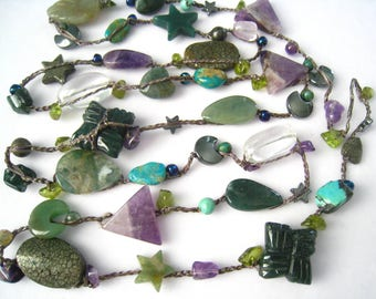 """40"""" Mixed Stone Bead Necklace. Artisan Made Vintage Piece. Beads Spaced Out Along Circular Length. Can Wrap for 2-Strand Look. Infinity."""