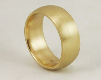 8mm Comfort Fit Wide Gold Band - Cigar Band - Gold Wedding Ring - Mens Womens Unisex - Solid 14k 18k