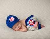 Newborn Chicago Cubs Cubbies Outfit Uniform Set, Hat, Cap, Pants, Knitted Crochet, Baby Gift, Photo Prop, Baseball, MLB