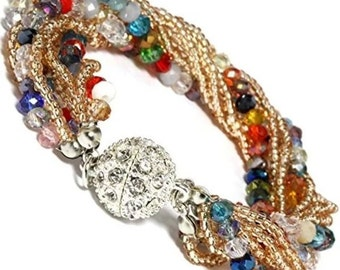 Multi Colored Crystal Beaded Bracelet with Rhinestone Magnetic Clasp