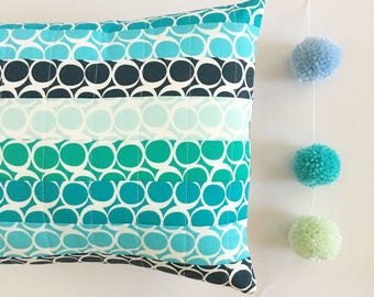 Quilted Blue and Jade Pillow. Blue Decorative Pillow. Blue and Aqua Decoration. Blue Pillow. Spring Pillow. Gift under 25