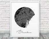 Barcelona Urban Map Poster. Barcelona City Street Map Print. Black & White Barcelona Spain Poster. Minimalist Geometric Decor. Printable Art