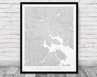 Baltimore City Street Map Poster. Baltimore Urban Map Print. Grey Baltimore Maryland Map Print.  Modern Poster Home Decor Art. Printable Art