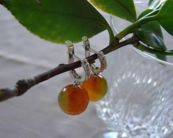 925 Sterling Silver Agate  Earrings