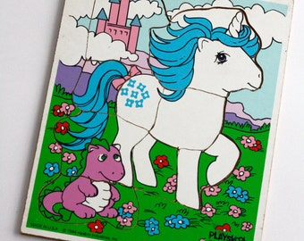 My Little Pony Puzzle, Hasbro 1984, Playskool Majesty and spike the Dragon