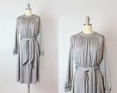 vintage 70s dress / 1970s silver grey dress / draped jersey dress / minimalist / neutral solid gray dress / Silversmith dress