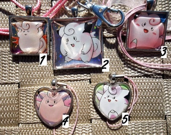 Clefairy and Clefable Glass Pendant Necklace Keychain Charm made from Trading Cards
