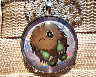 1.5 inch Winged Kuriboh HOLO Pendant Charm made from Trading Cards